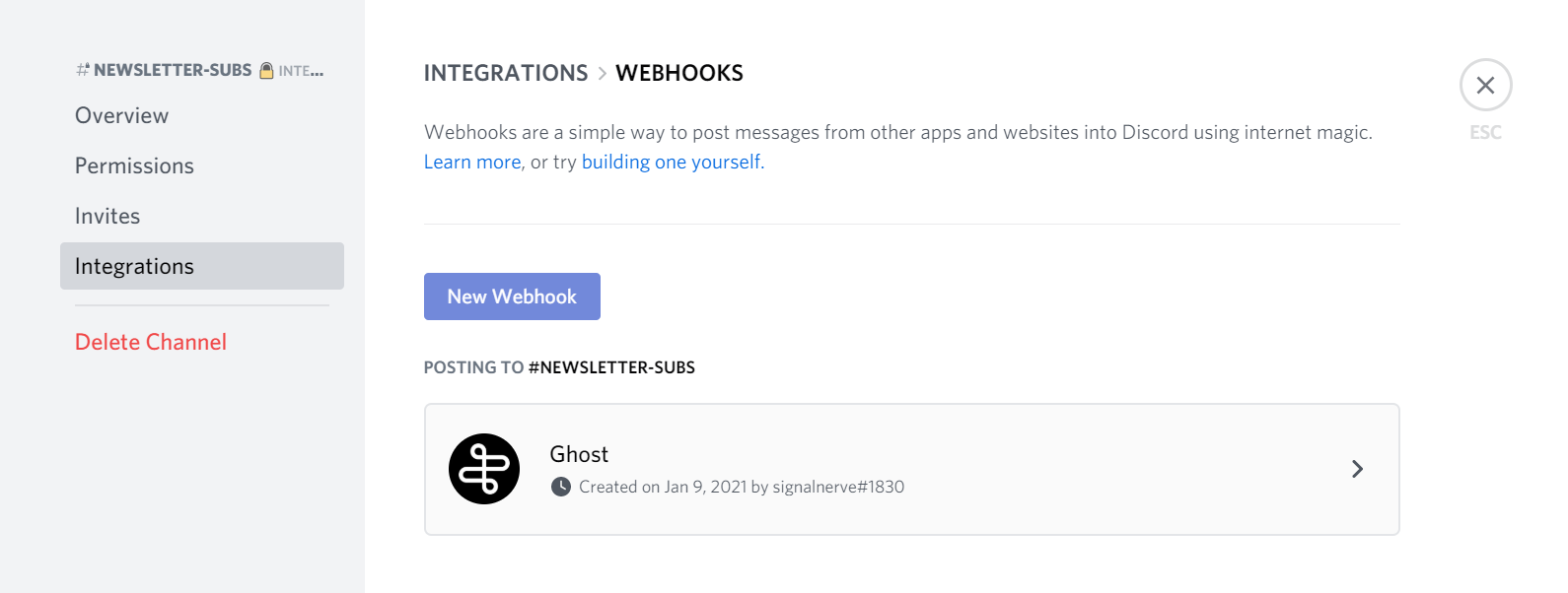 The integrations and webhooks UI in Discord's channel settings